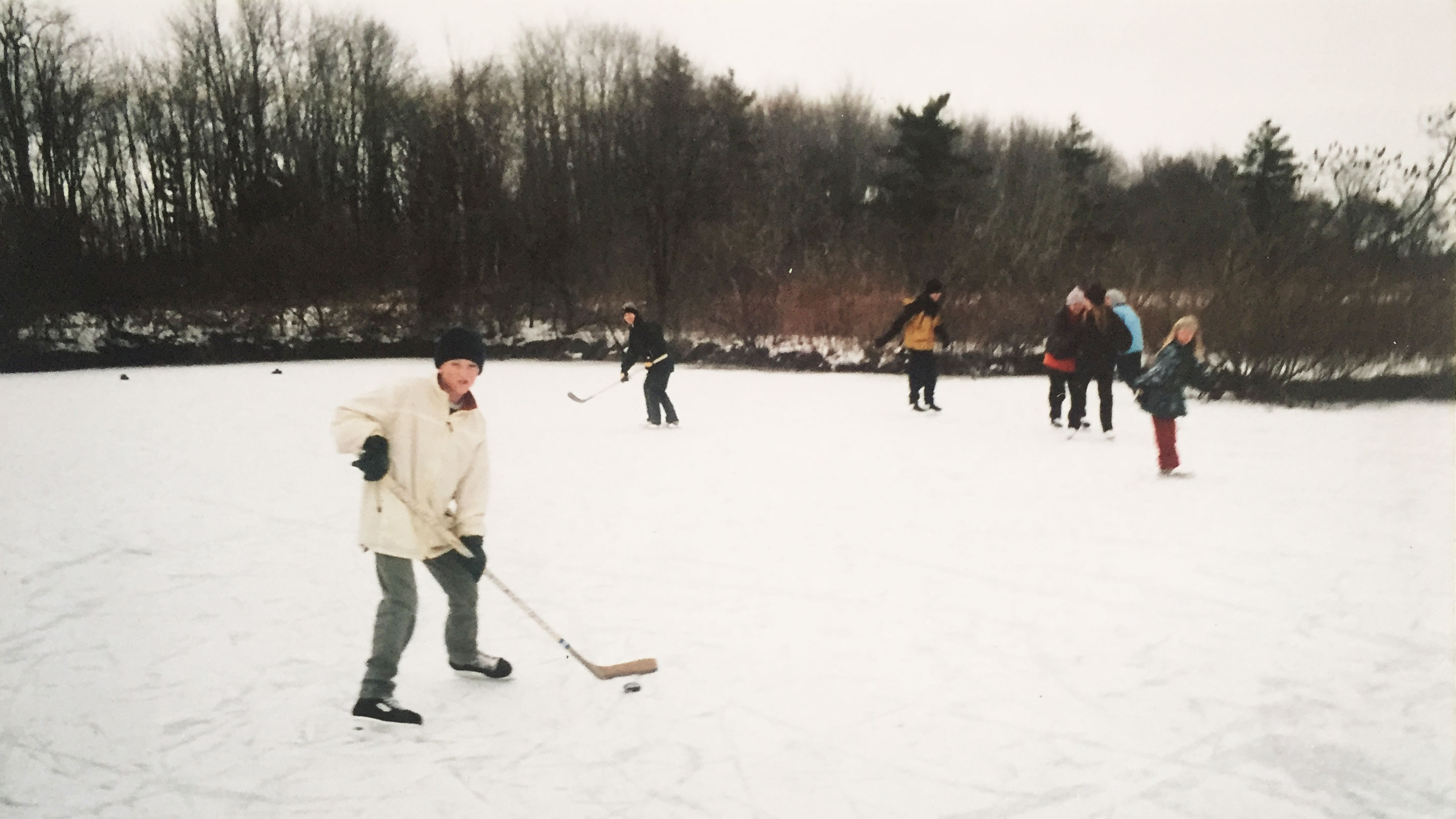 Playing hockey on the pond growing up