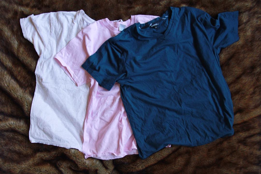 3 older T-shirts I am upcycling to make into one new t-shirt