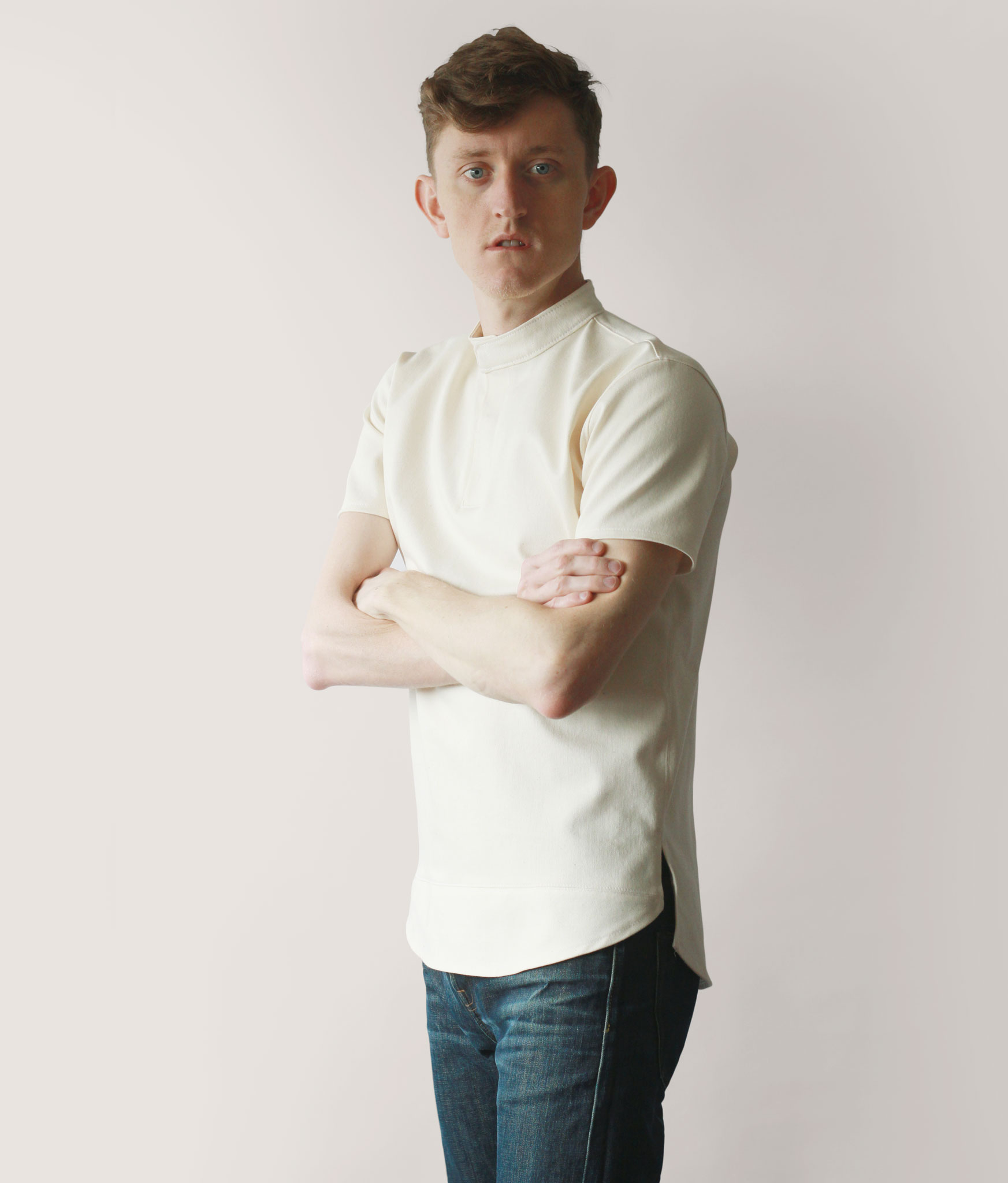 Band Collar Polo Shirt