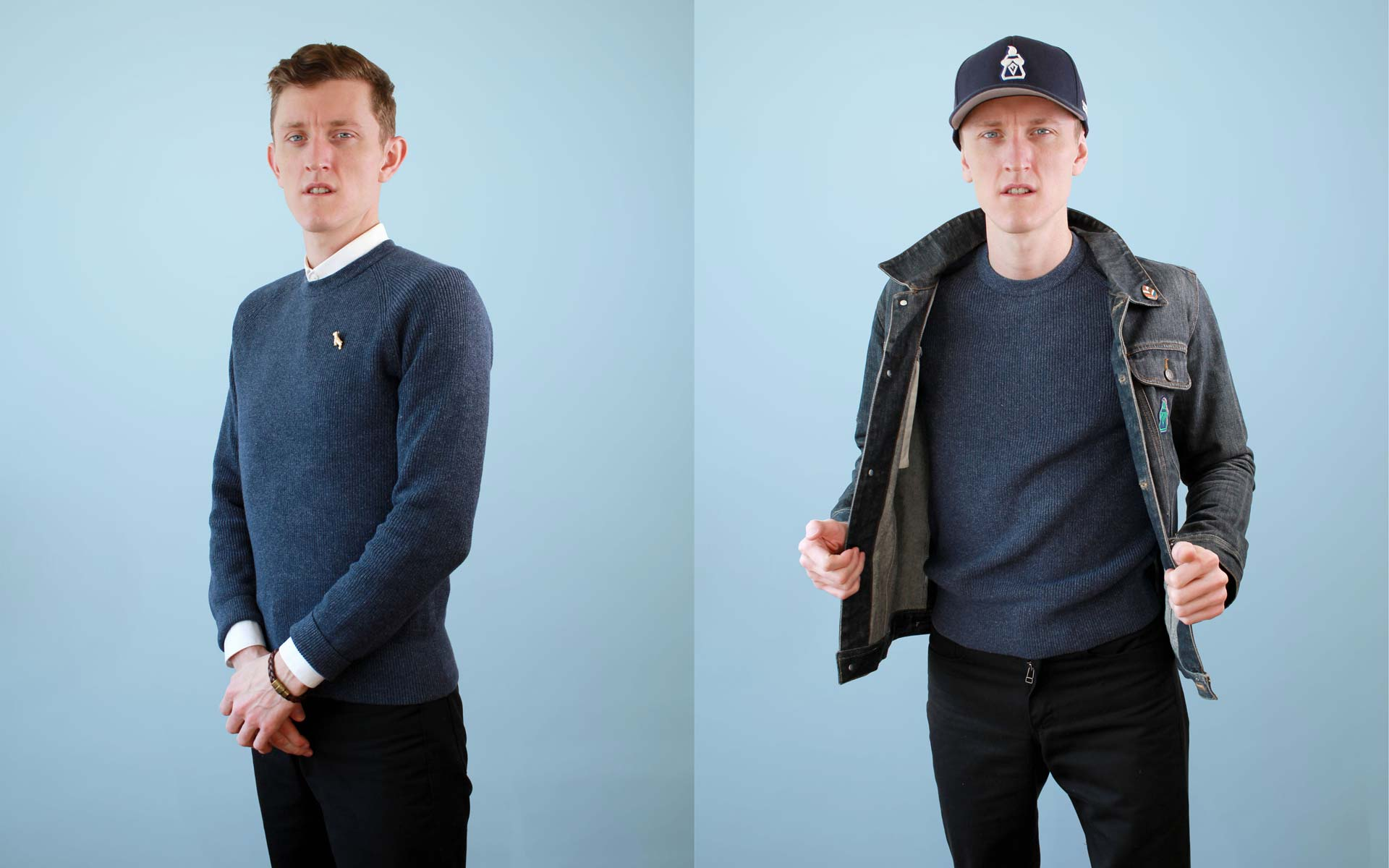 Basic Blue Mens Sweater Two Ways