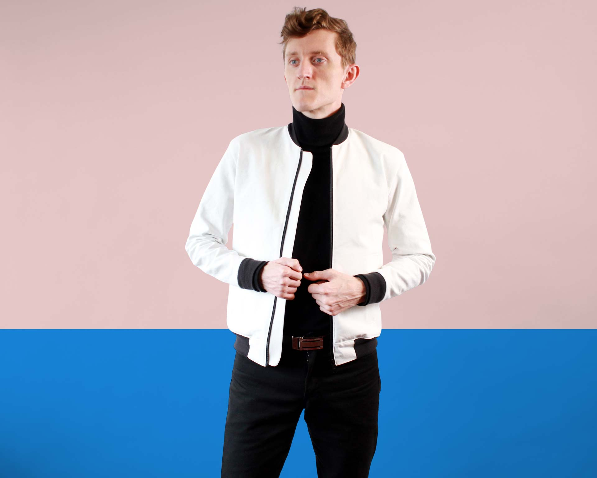 Black Turtleneck White Mens Bomber Jacket