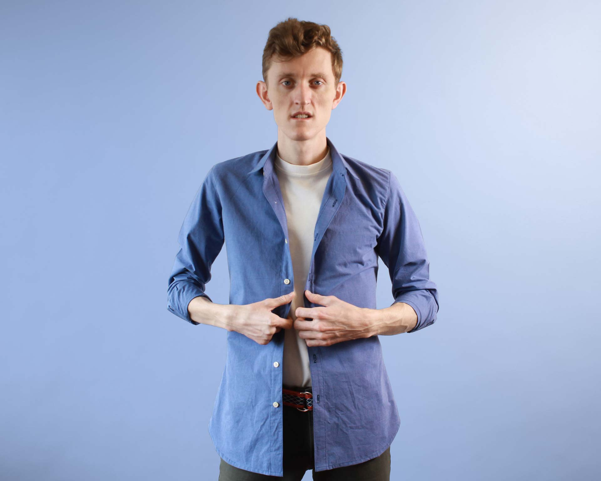 Mens Blue Basic Button-up Shirt