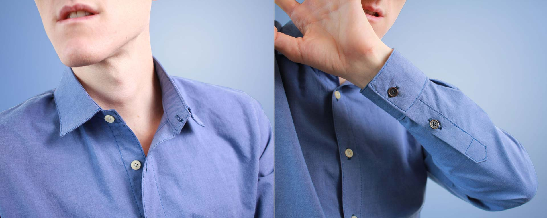 Handmade Blue Button-up Shirt collar and placket Details