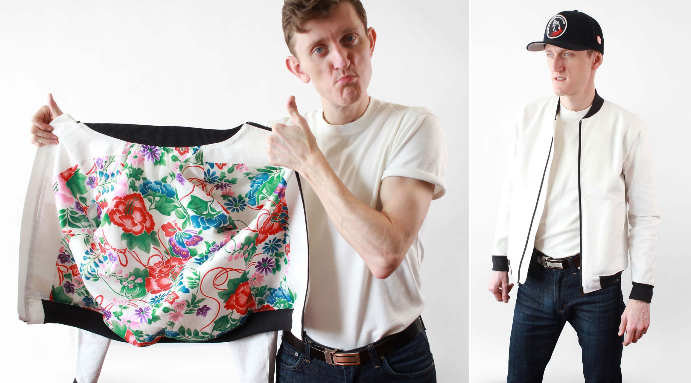 Mens White Bomber Jacket With a Bright Floral Lining