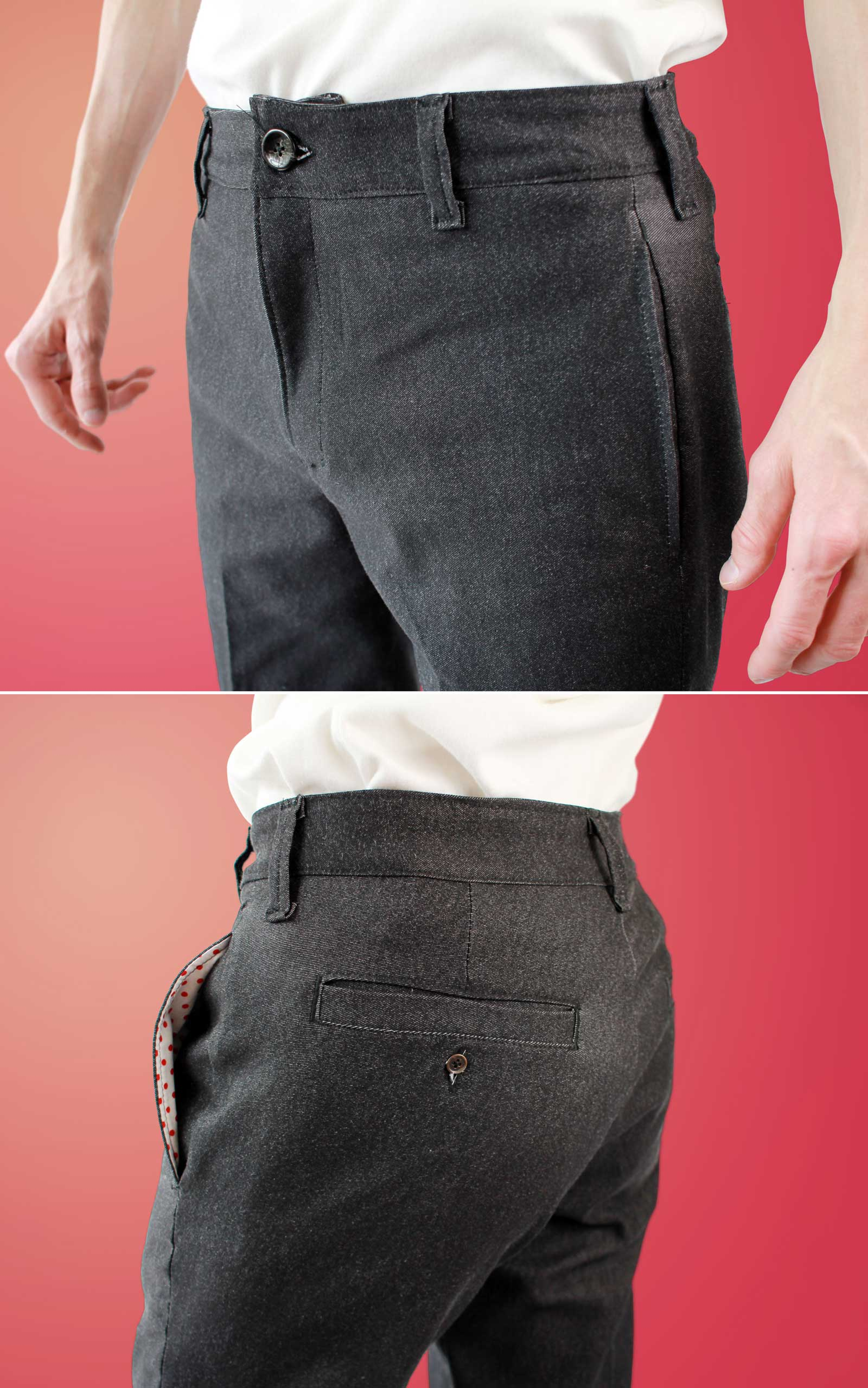 Mens Black Slacks Sewing Mistakes Close up