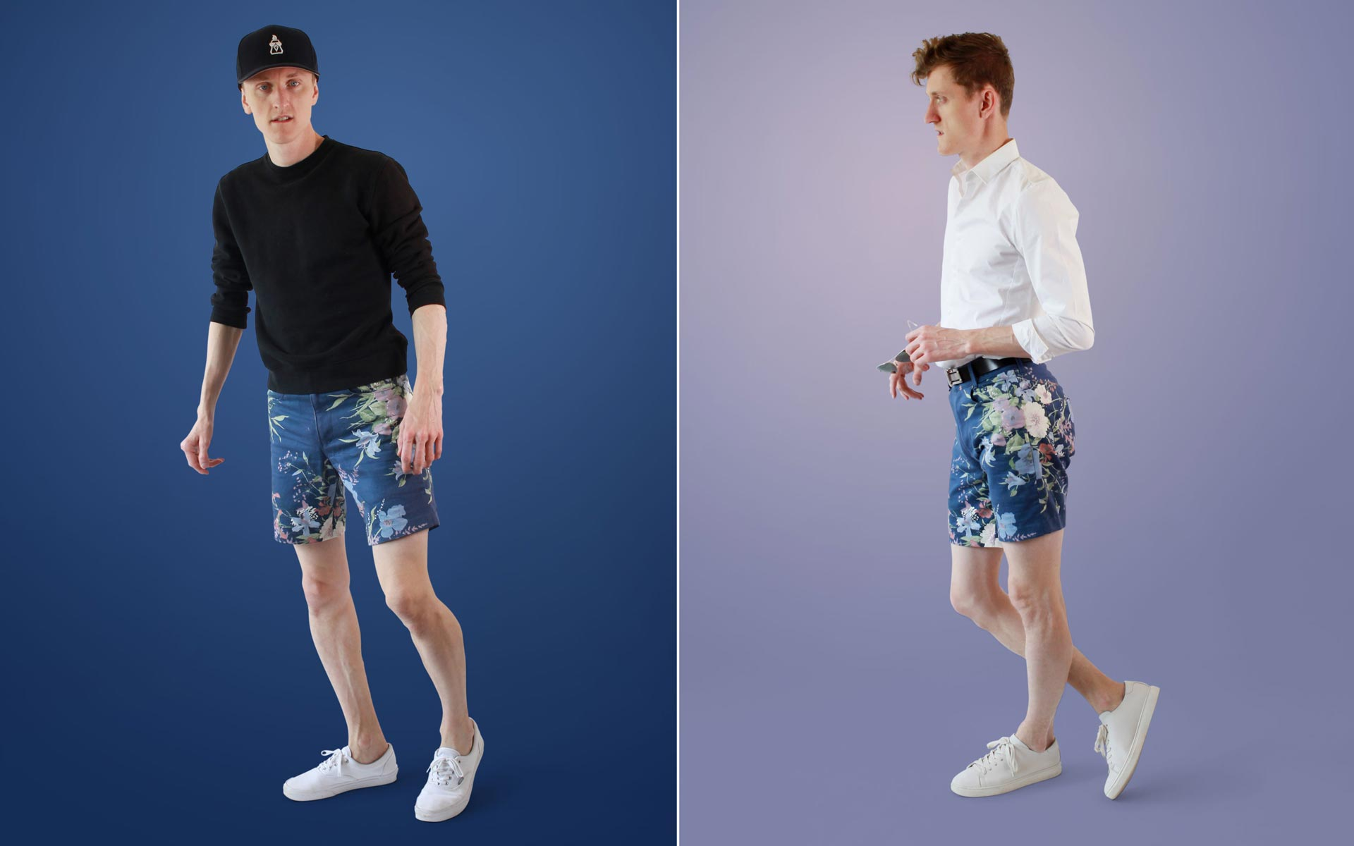 Mens Floral Shorts dressed up and down