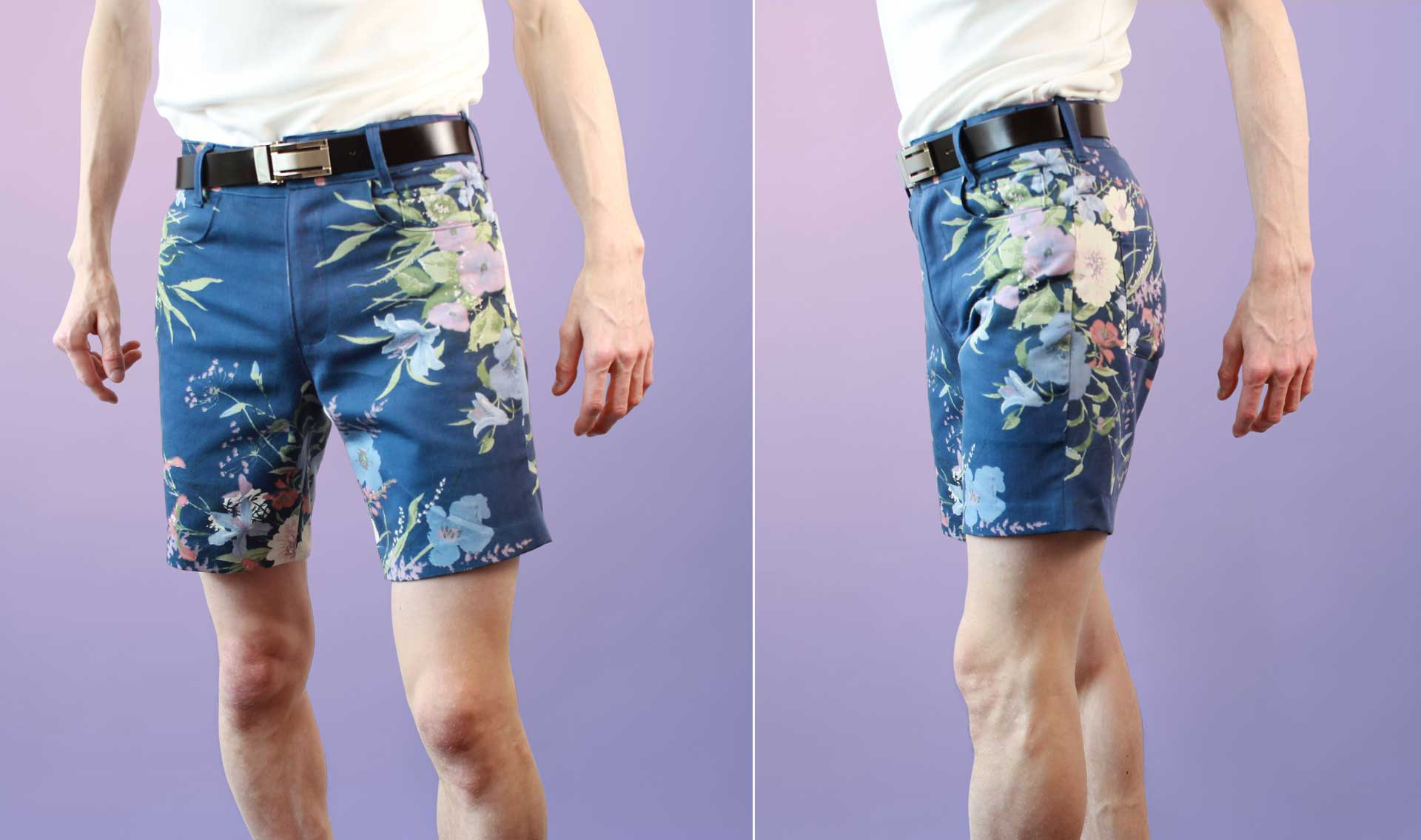 Mens Floral Navy Blue Purple Pink Green Shorts