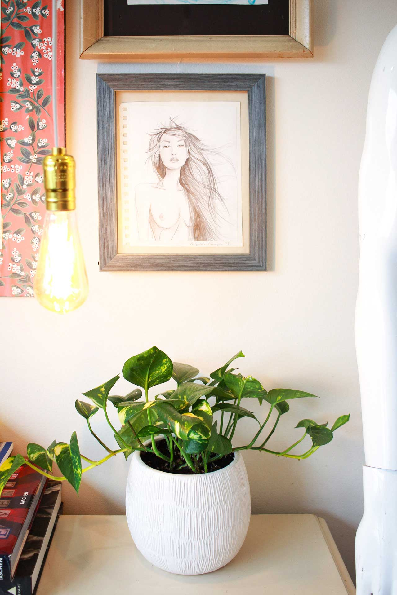 Studio Wall Art of a woman, light and a Pothos plant