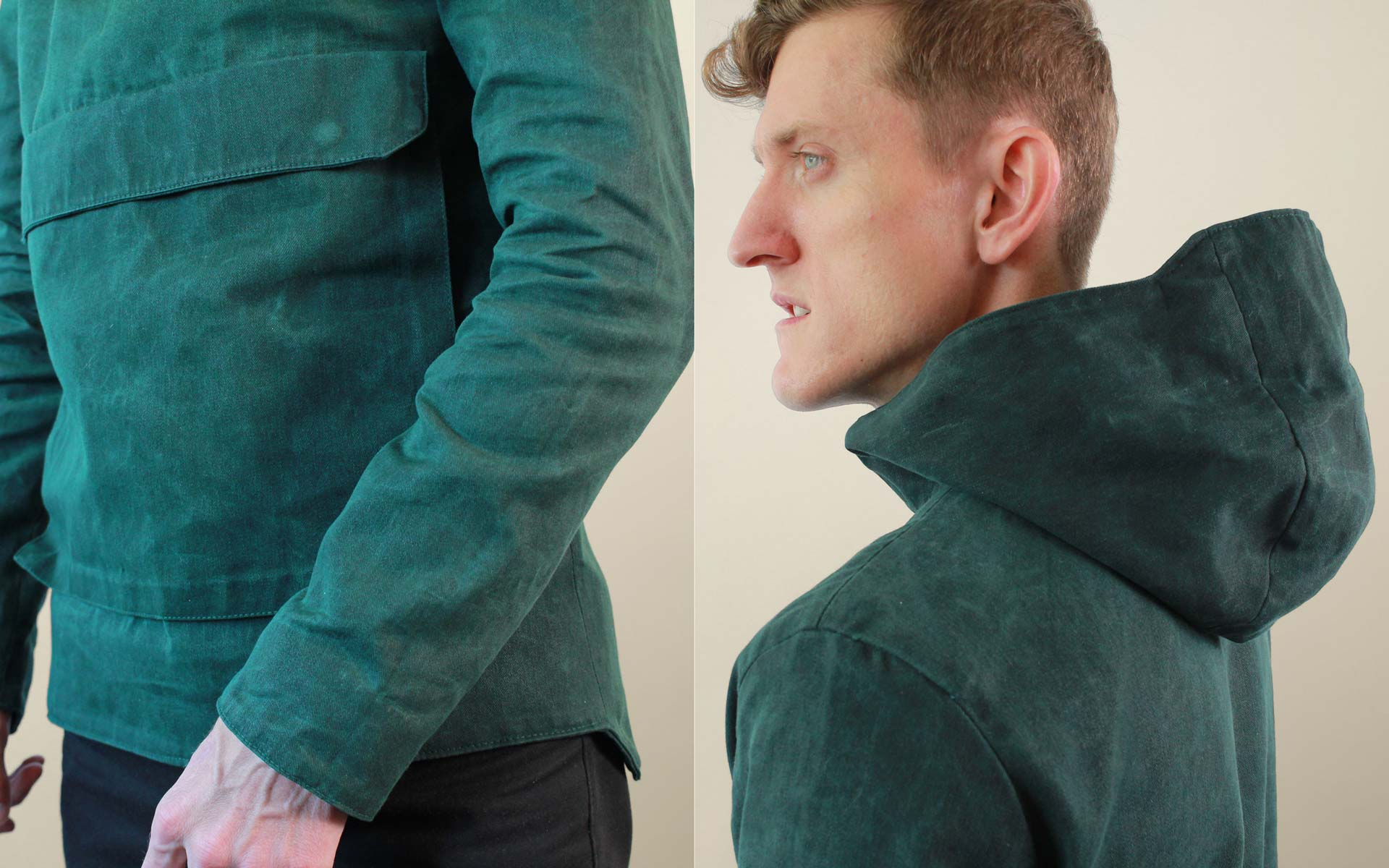 Mens Waxed Cotton Rain Coat Details