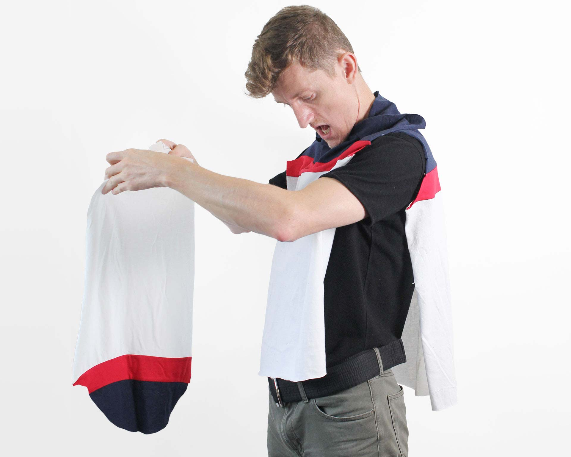 Holding various parts of a polo shirt in progress