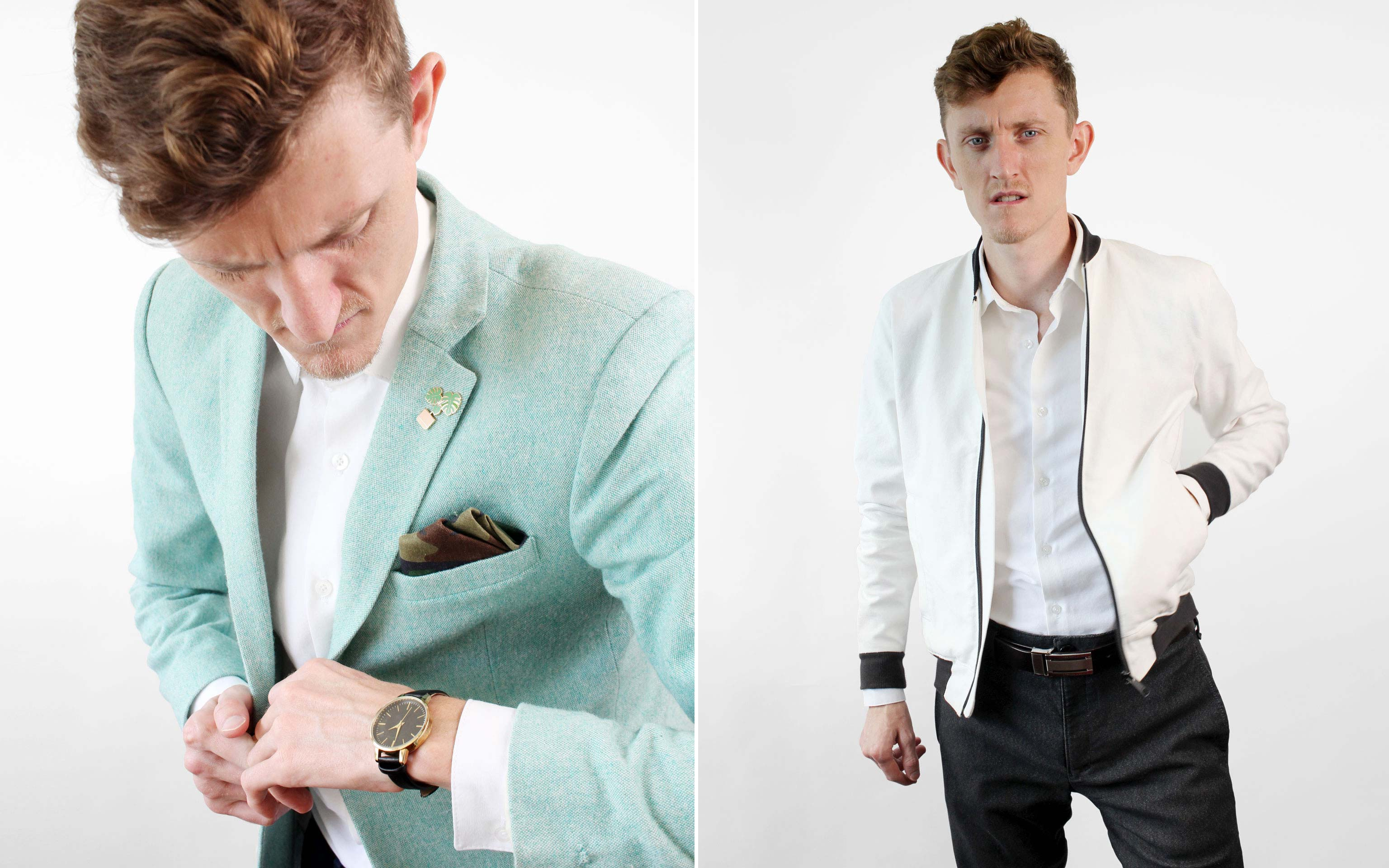 Layering Jackets and Coats on top of a men's white button-up shirt.
