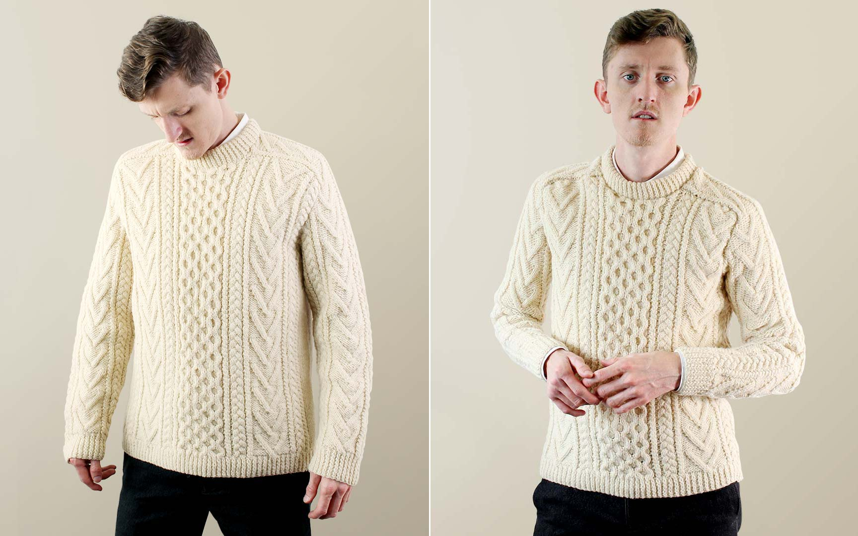 Before and after the tailoring of my Aran Sweater