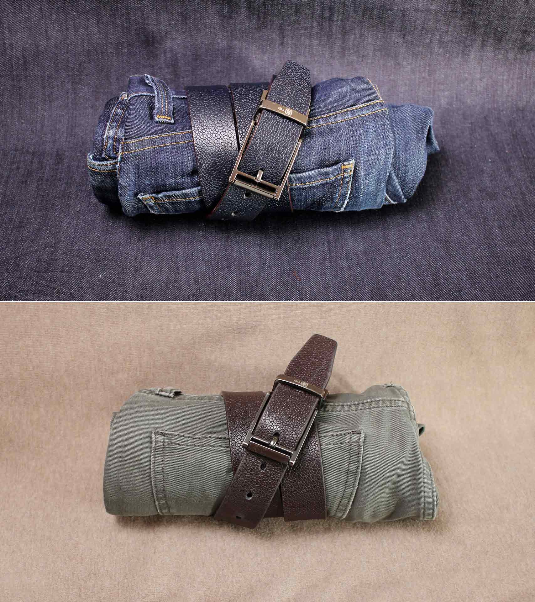A double sided navy blue and brown belt